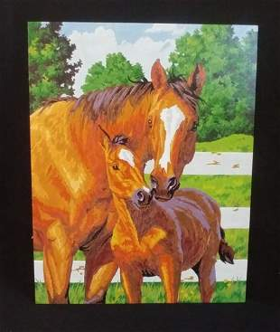 Horse and Colt Color Painting on Board