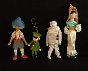 Lot of 4 Dolls Clown Poland Wood Harrods Ornament Asian