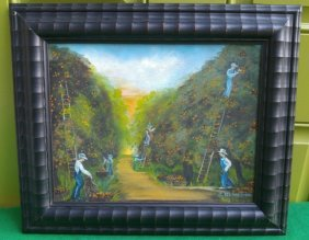 Pickers in Orange Grove Painting on Canvas Board Dowell