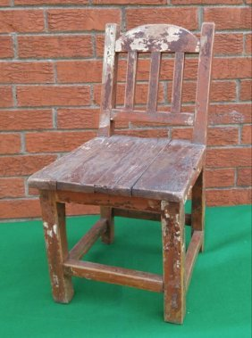 Antique Mission Wooden Childs Chair Handmade Early 1900