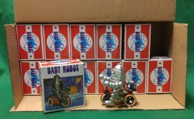 Case of 12 Baby Robot on Tricycle Contemporary TIn
