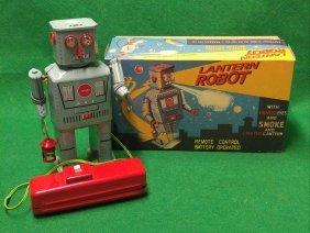 Smoking Lantern Robot Battery Operated Tin Litho In Box