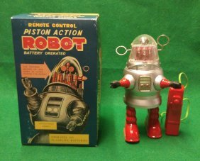Piston Action Pug Robby the Robot In Box Silver Color