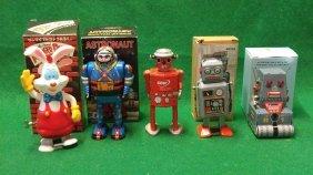 5 Wind Up Toys Astronaut Atomic Robot Man Robot tank R1