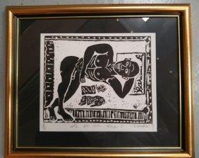 Signed Limited Block Print Nude with Dog La Vie En Rose