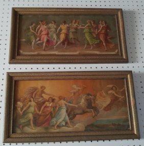 Apollo on Chariot and With Muses 2 chromolithographs