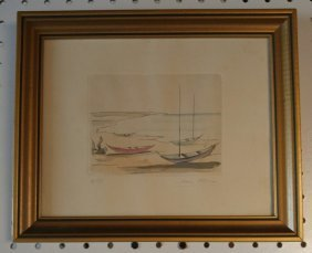 Ivan Mosca Hand Colored Etching BOATS 4 of 50