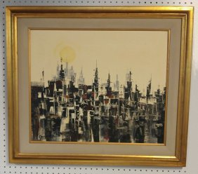 Paco Gorospe 1939-2002 Abstract Cityscape Painting