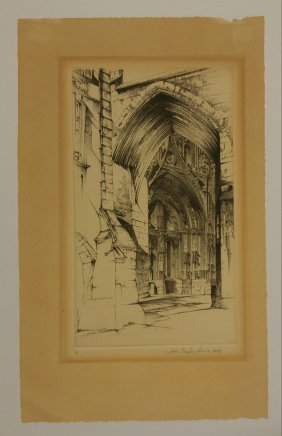 John Taylor Arms Etching Signed French Lace 1949