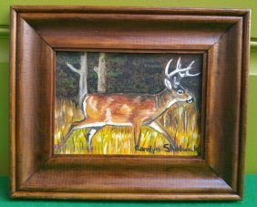 Carolyn Shadwick Deer Painting on Canvas Board Folk Art