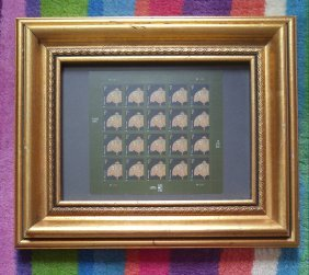 Tiffany Lamp USA Stamp Sheet Framed Unused