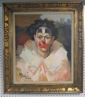 Augusto Magli 1890-1962 Clown Portrait Oil Painting