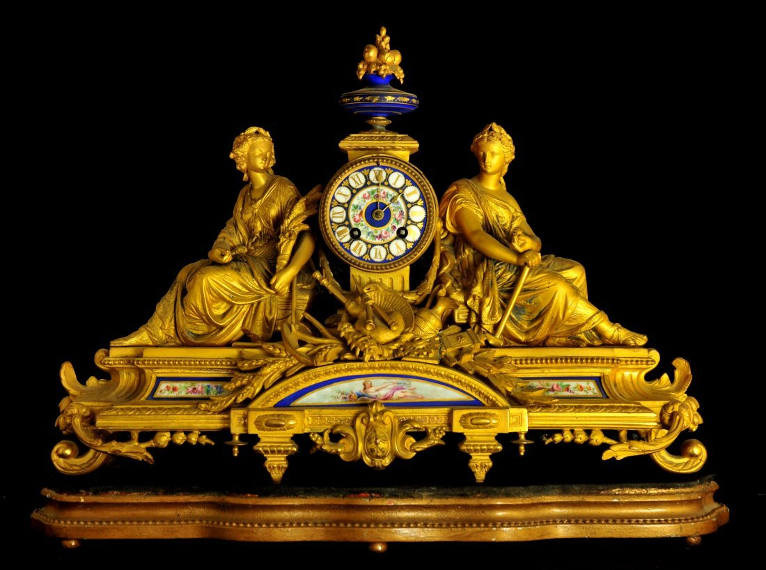 FRENCH PORCELAIN MANTEL CLOCK, MID 19TH C.