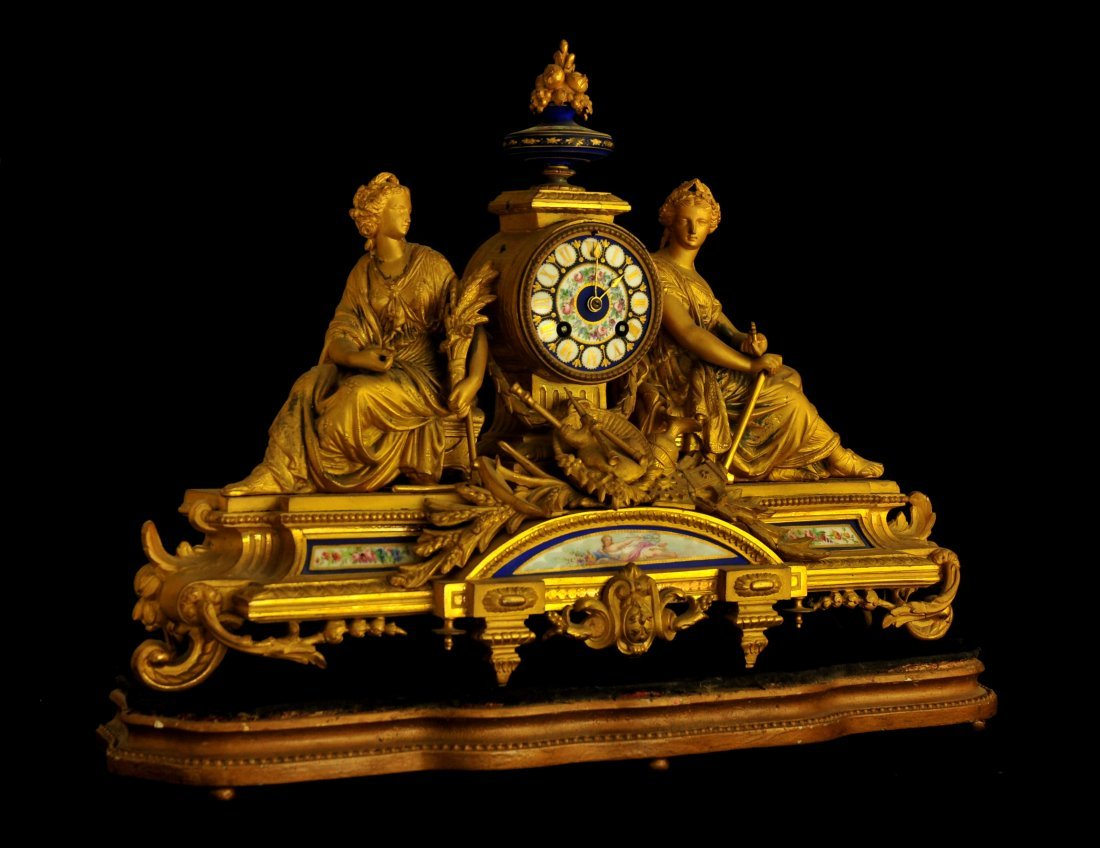 FRENCH PORCELAIN MANTEL CLOCK, MID 19TH C. - 2