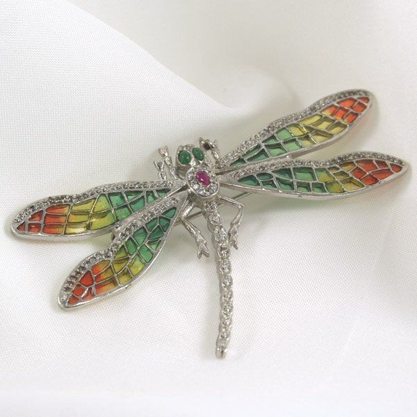 1016: SS Emerald Ruby Dragonfly Pin 88x52mm