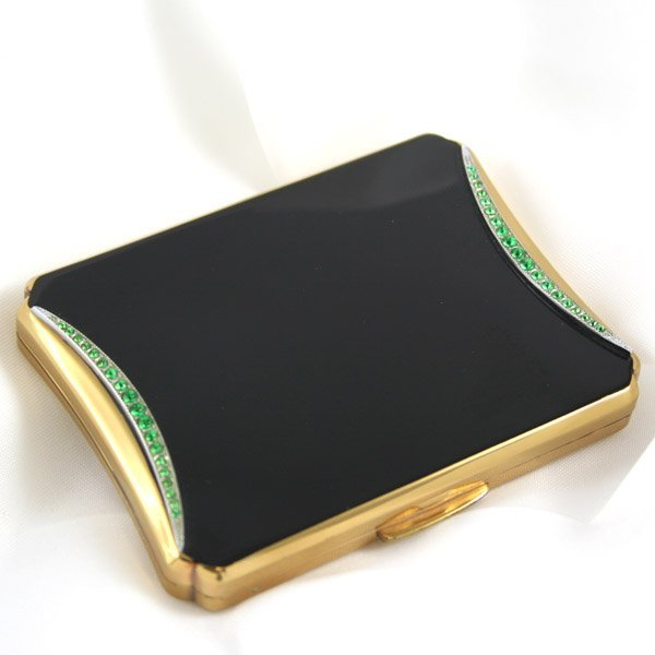 1019: KIGU Black and Gold-tone Compact - 1940's-50's