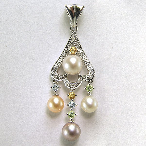 4027: SS FW Pearl Multi Gem Stone Diamond Pendant 0.38