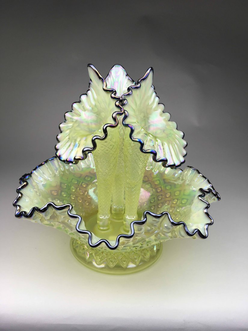 Yellow/Blue Iridescent Fenton Epergne