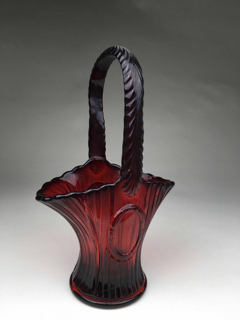 Cranberry Handled Fenton Basket