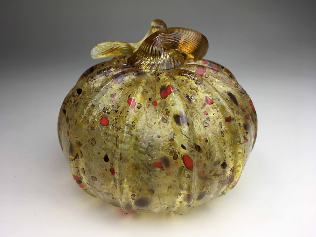 Fenton Gold and Red Flake Pumpkin