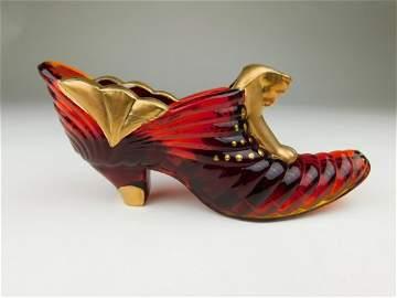 Fenton Ruby & Gold Shoe