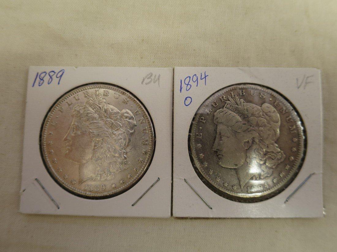 1889 and 1894-O Morgan dollars.