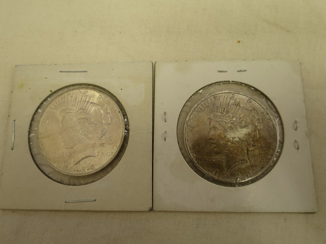 1922 and 1923 Peace dollars.