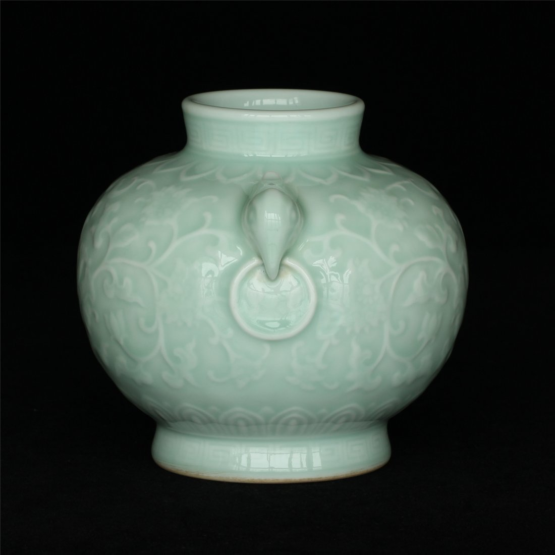 Blue glaze carving porcelain jar of Qing Dynasty - 10