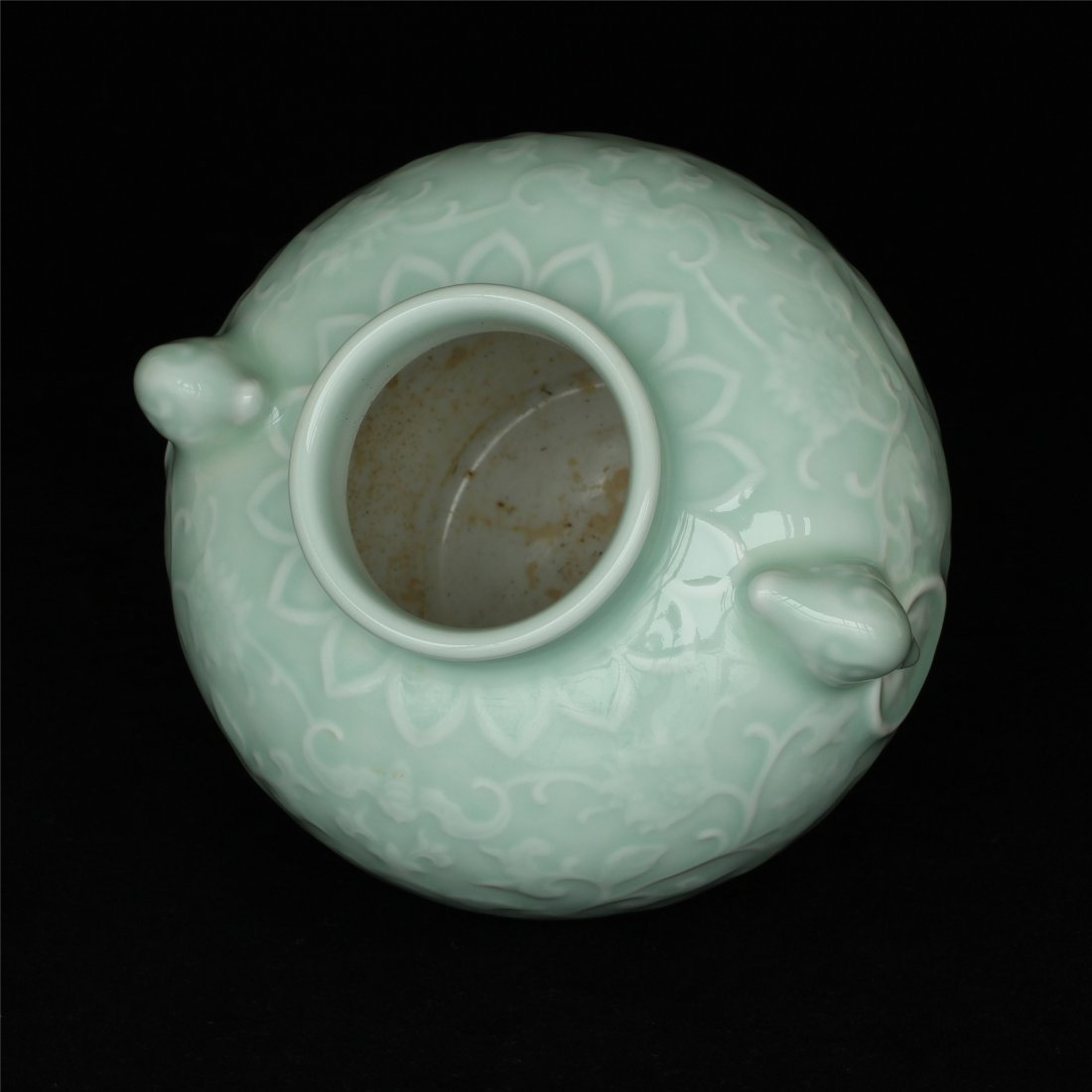 Blue glaze carving porcelain jar of Qing Dynasty - 6