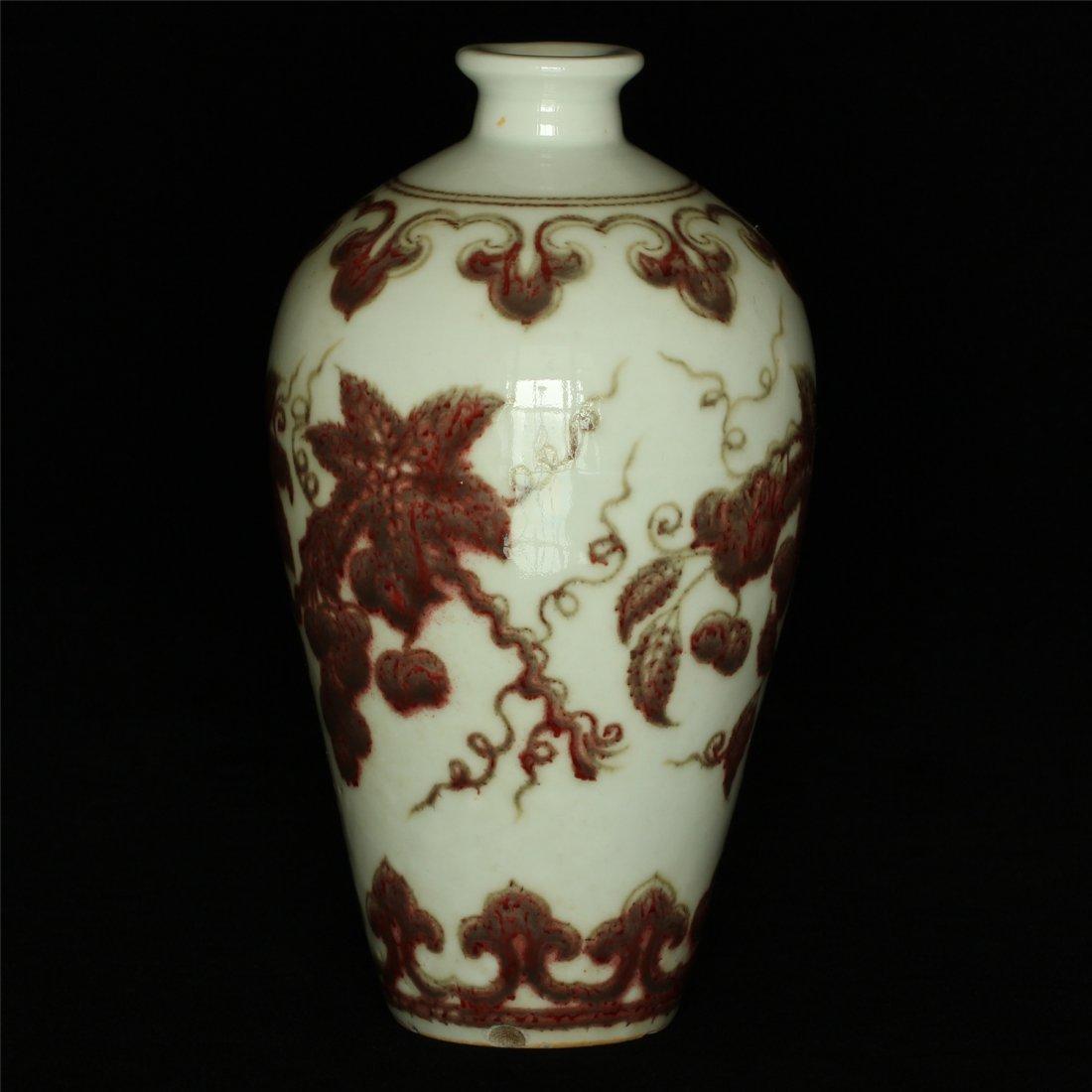 Underglaze red porcelain vase of Ming Dynasty XuanDe