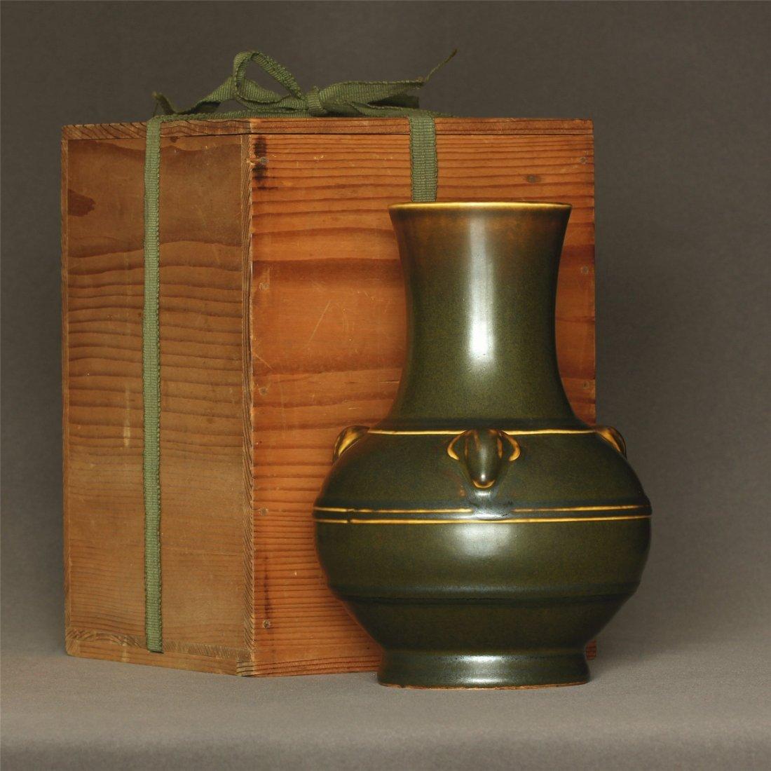 Tea glaze porcelain vase of Qing Dynasty QianLong - 3