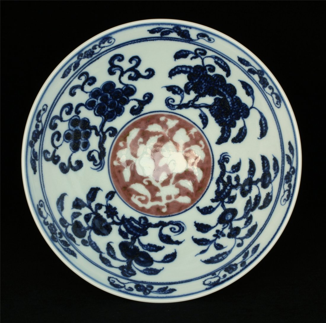Blue and white & underglaze red porcelain bowl of Ming - 4