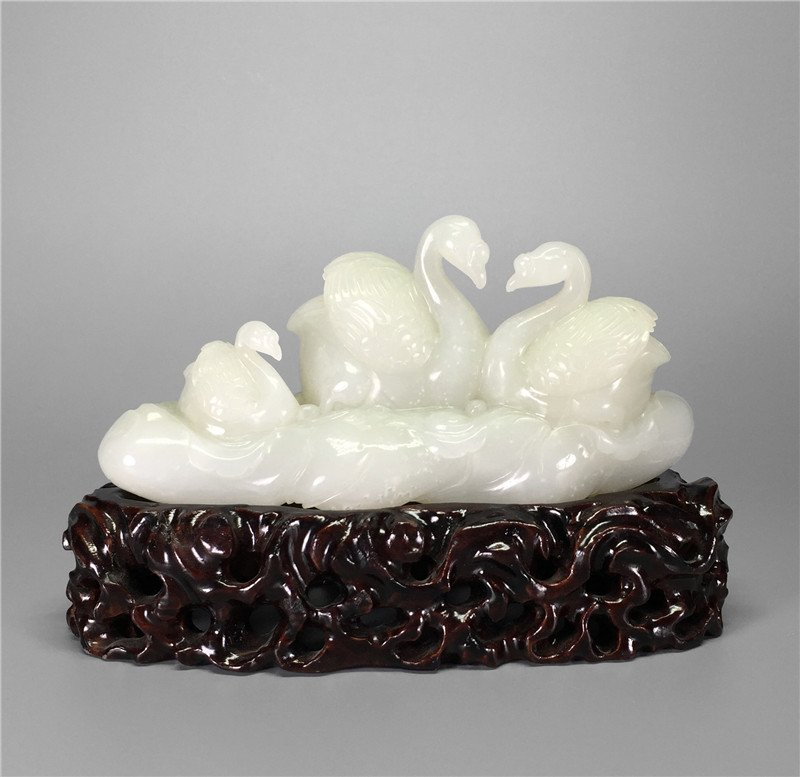 Chinese white jade carved geese,