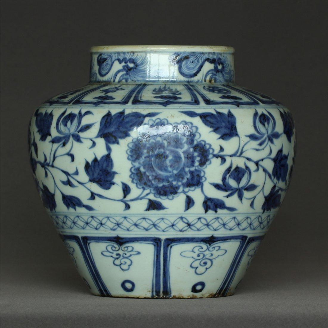Blue And White Porcelain jar Yuan Dynasty.