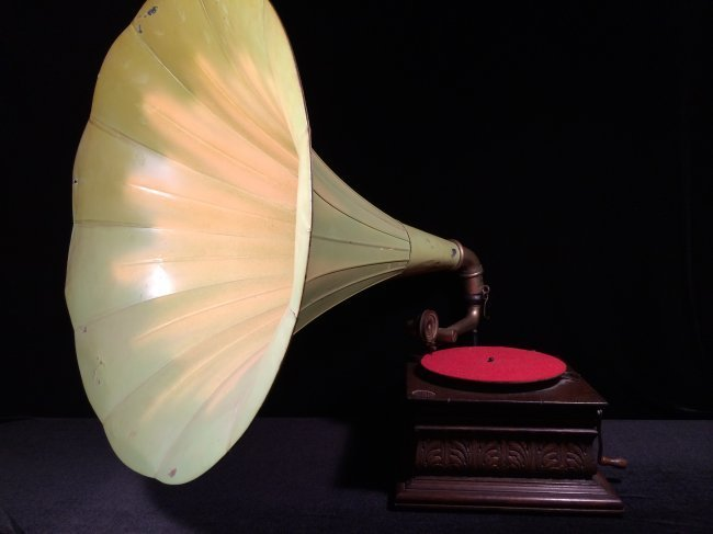 Wooden carved box large metal lotus horn phonograph.