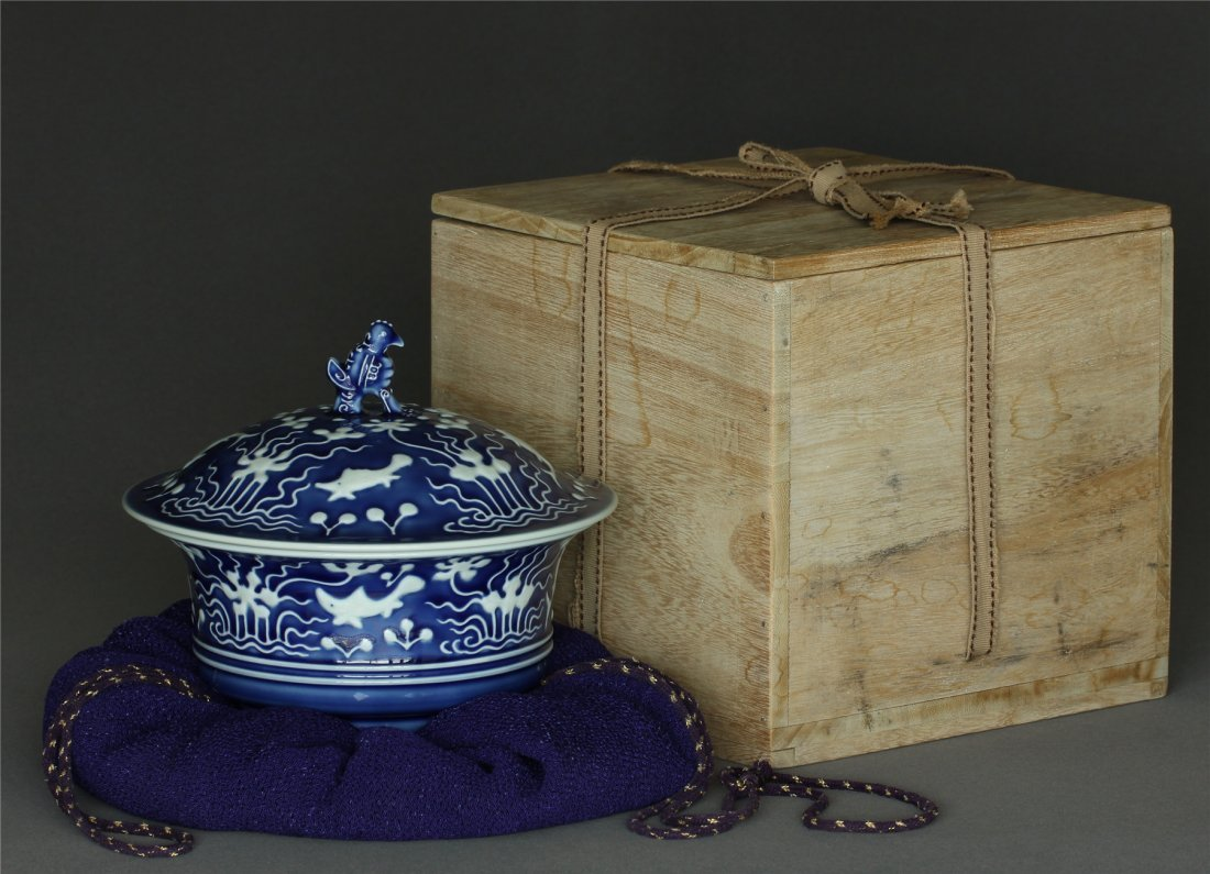 Blue glazed bowl with lid of Qing Dynasty YongZheng
