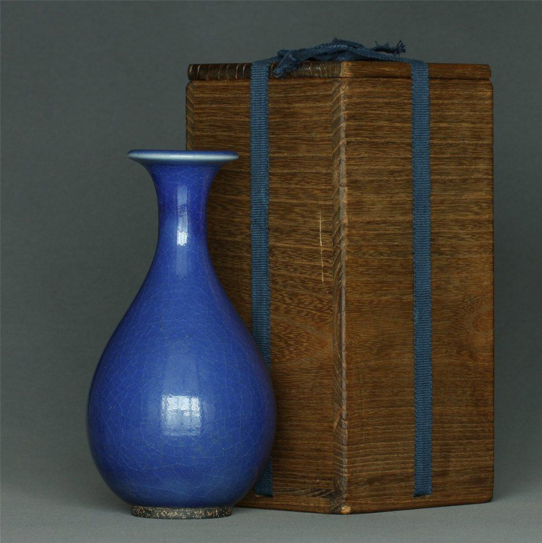 Blue glaze porcelain vase.