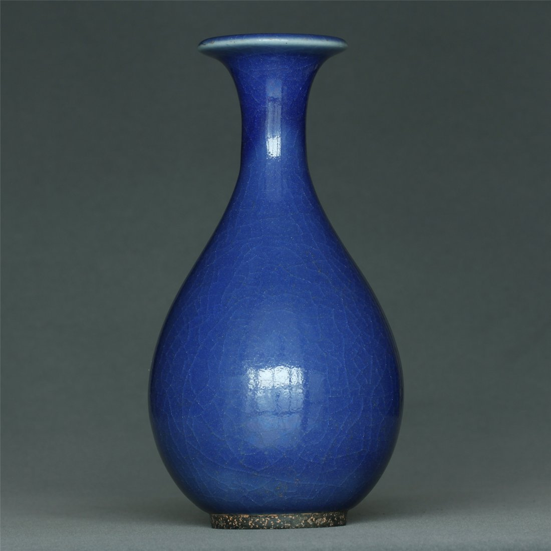Blue glaze porcelain vase. - 4