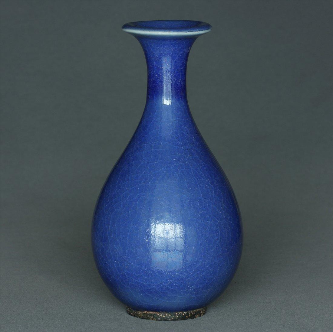 Blue glaze porcelain vase. - 5
