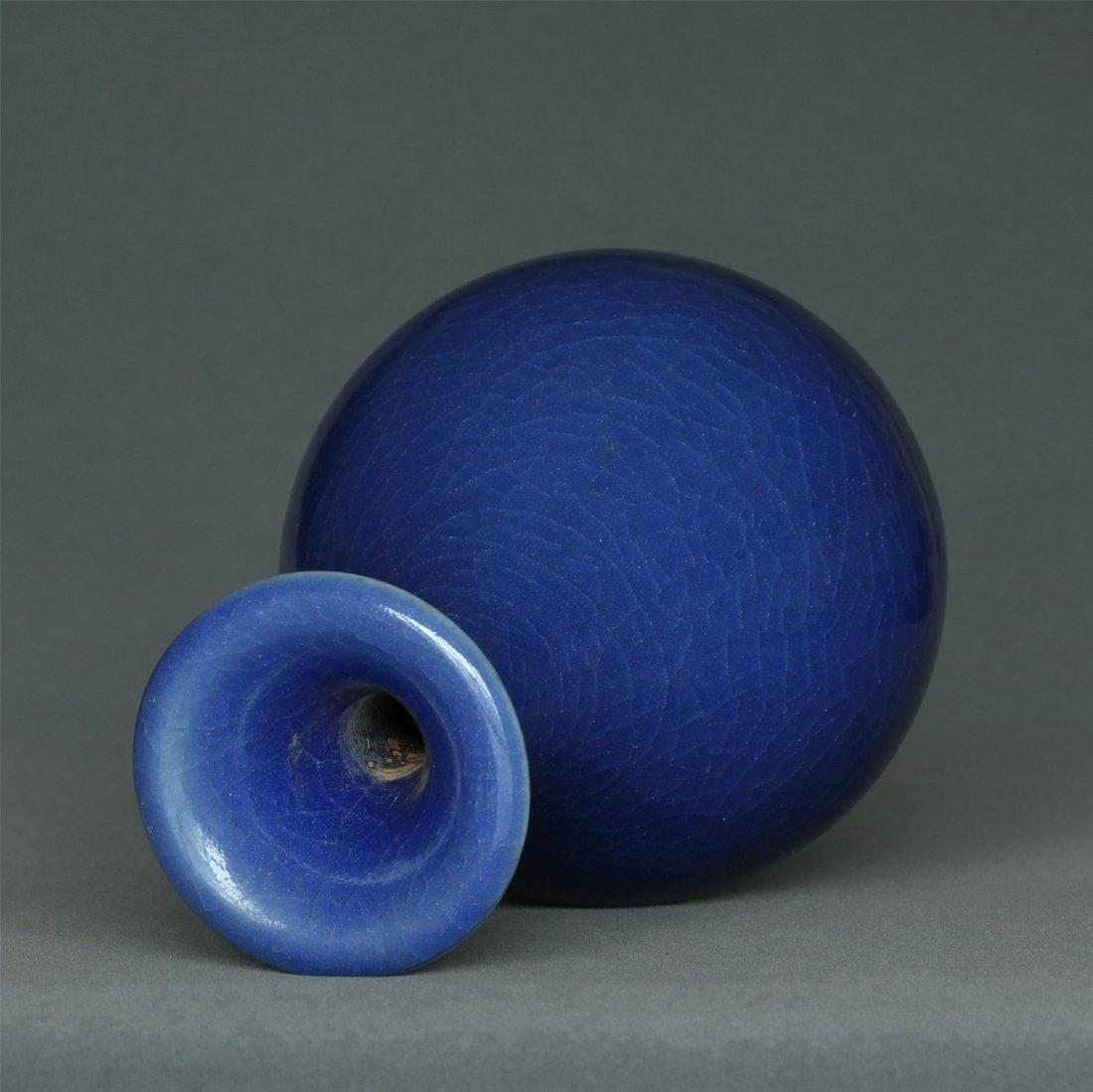 Blue glaze porcelain vase. - 9