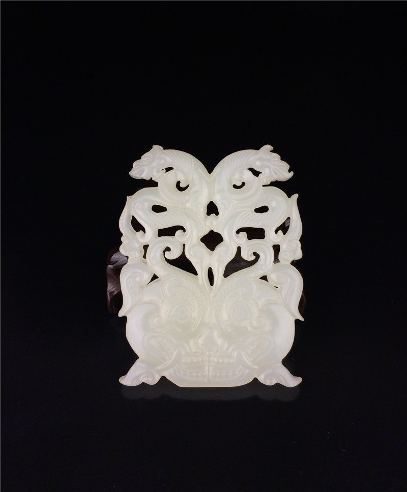 Chinese suet white jade carved on both sides Brand.