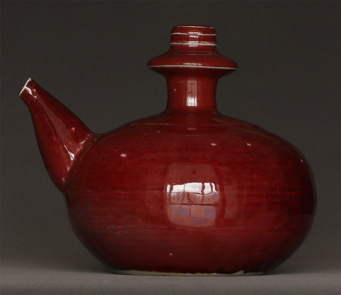 A Red Glaze Porcelain Pot Ming Dynasty.