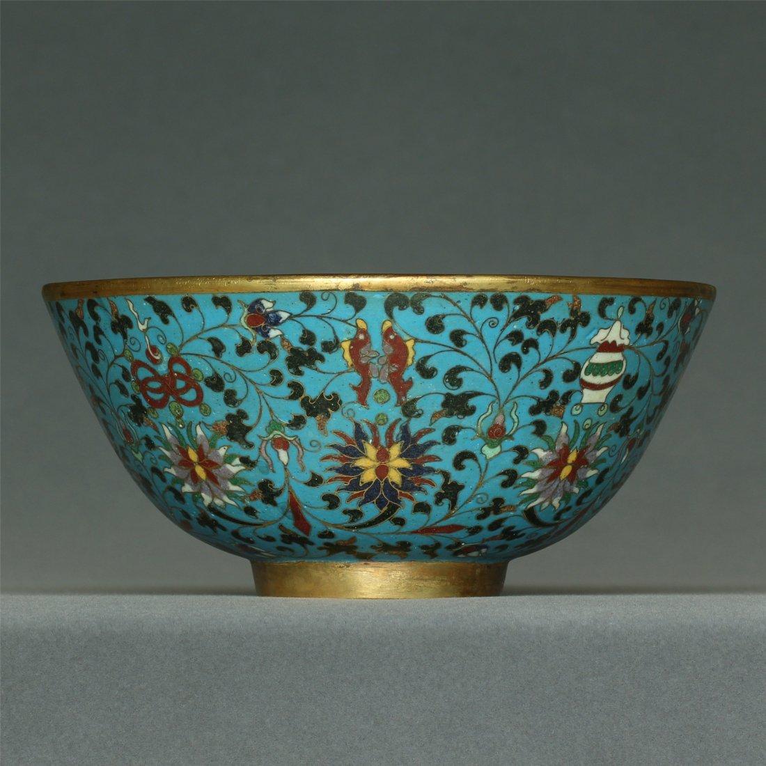 Cloisonne gilt bowl of Ming Dynasty JingTai mark.