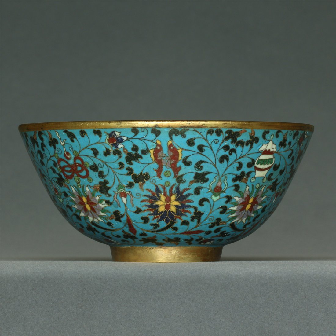 Cloisonne gilt bowl of Ming Dynasty JingTai mark.
