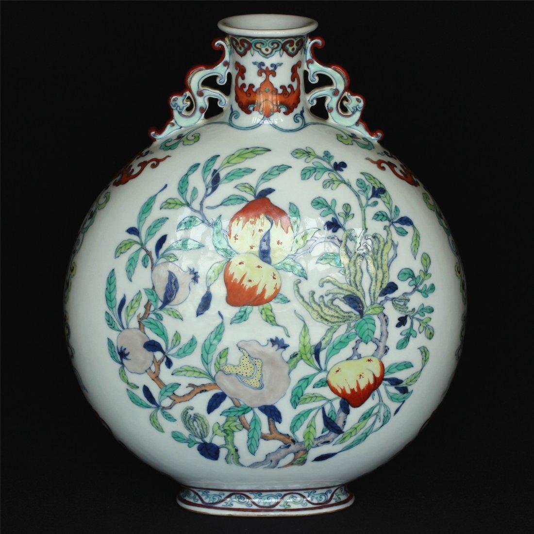 Doucai porcelain vase of Qing Dynasty QianLong mark.