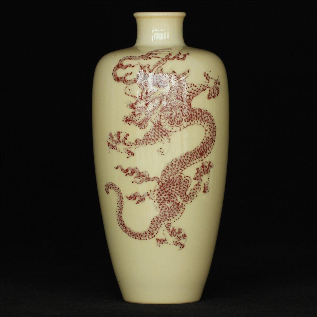 Underglaze red porcelain vase of Qing Dynasty KangXi
