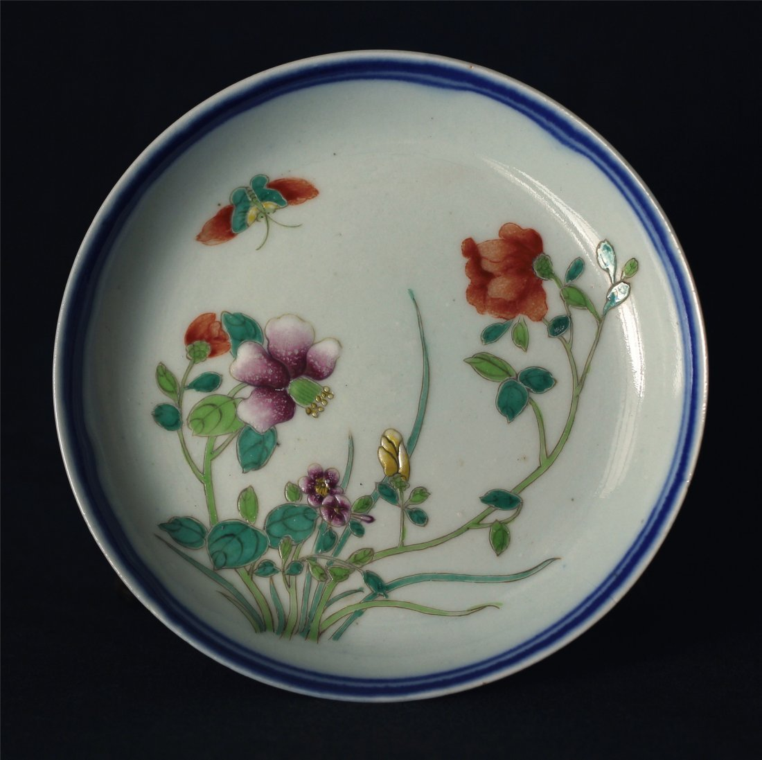 Blue and white & Famille rose porcelain plate of Qing