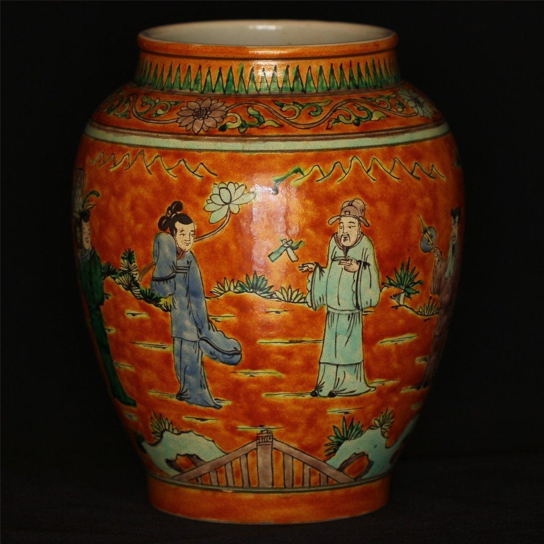 Color porcelain jar of Ming Dynasty WanLi mark .