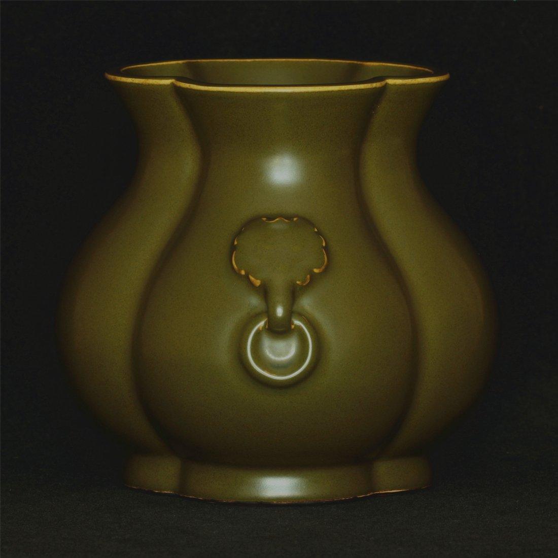 Tea glaze porcelain jar of Qing Dynasty QianLong mark.