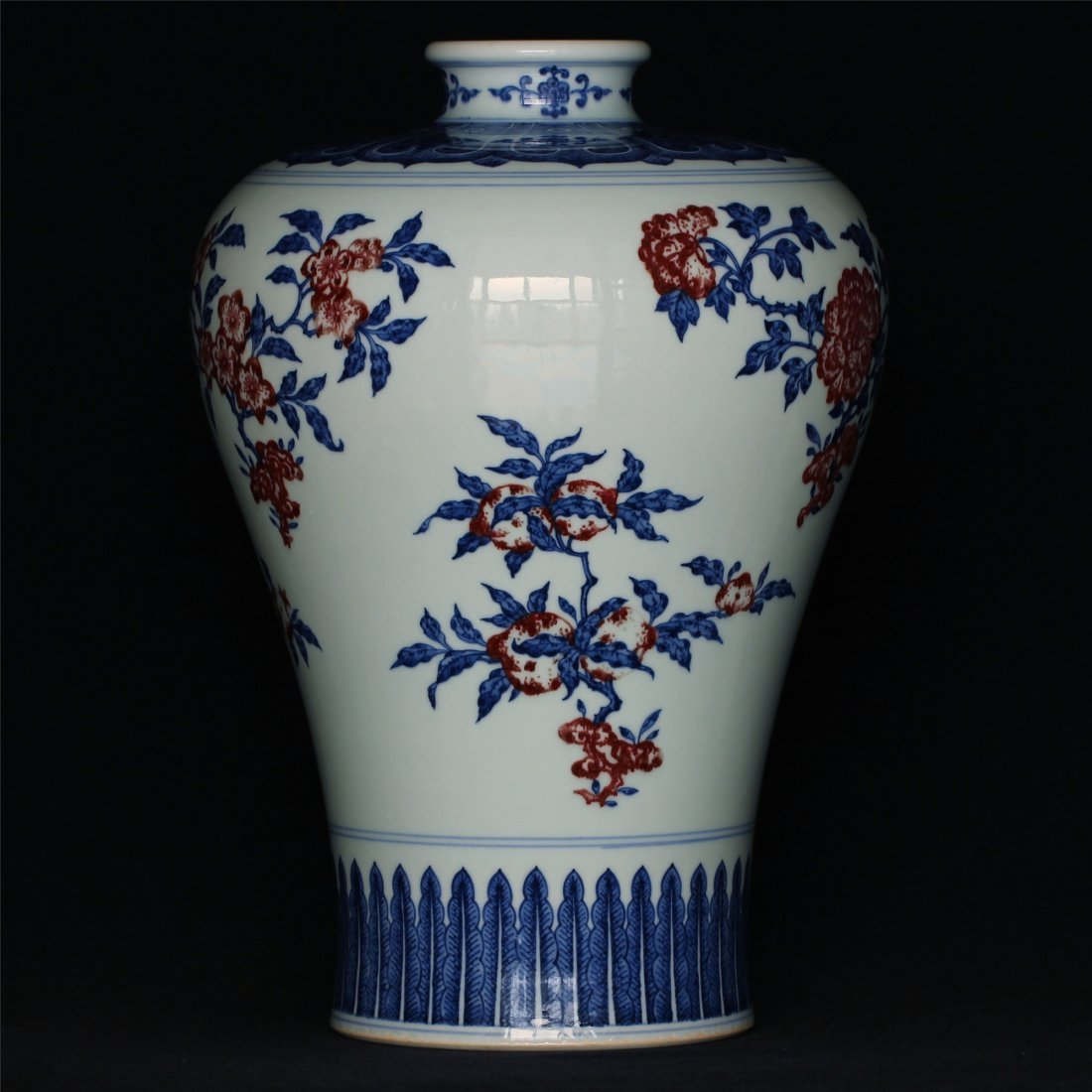 Blue and white & underglaze red porcelain vase of Qing